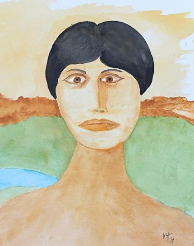 "Female Watercolor Modern Art Portrait Painting ""Woman In Field"" by Colorado Artist Kit Hedman, Boarding House Studio Galleries"