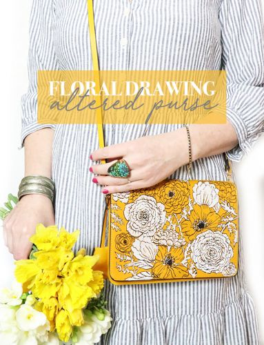 Floral drawing- altered purse