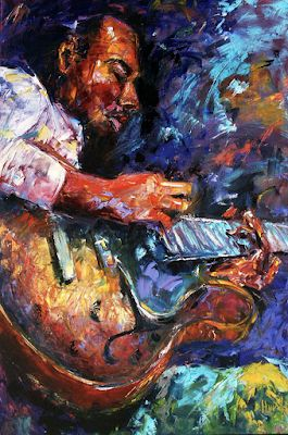 "Jazz Portrait Painting,Guitar, Music Art Paintings ""Jazzy Guitar"" By Texas Artist Debra Hurd"
