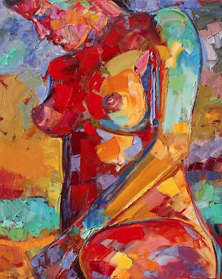 """Abstract Female Nude Painting,Palette Knife Figure """"Lady of Color"""" by Texas Artist Debra Hurd"""