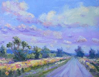 Yellow Spring Day, New Contemporary Landscape Painting by Sheri Jones